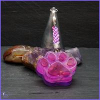 Pink and Purple Chunky Paw Keyring of Bag Charm