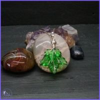 Green resin Leaves encased in Sterling Silver Wire Pendant.