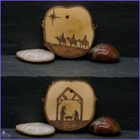 Double sided Silver Birch Pyrography Tree Decoration.