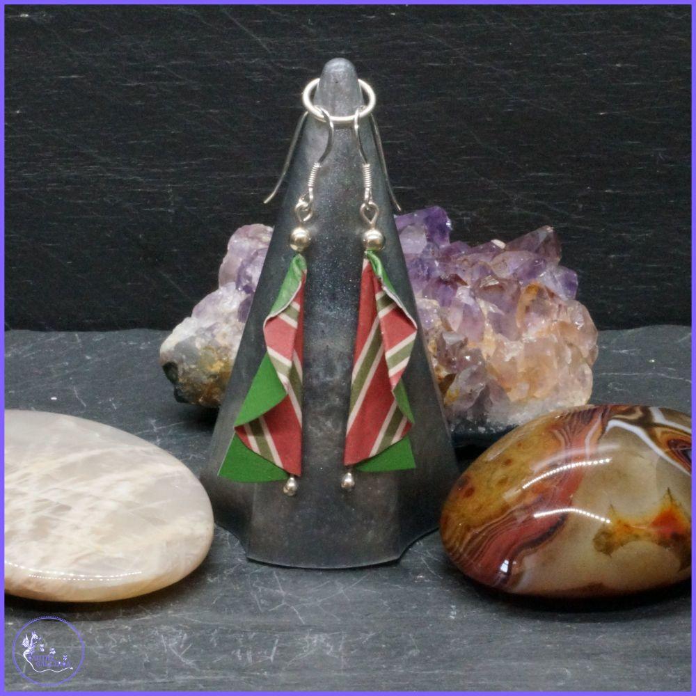 Sterling Silver Origami Christmas Tree Earrings.