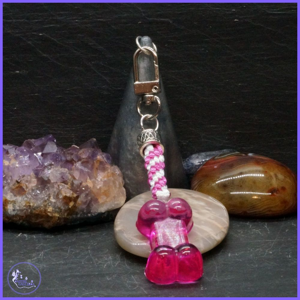 Vibrant Pink Bone Keyring or Bag Charm.