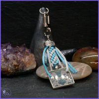 Blue Flowered Resin Keyring or Bag Charm.