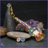 Rainbow Bone Medallion on a Multi Coloured Rainbow Kumihimo braid.