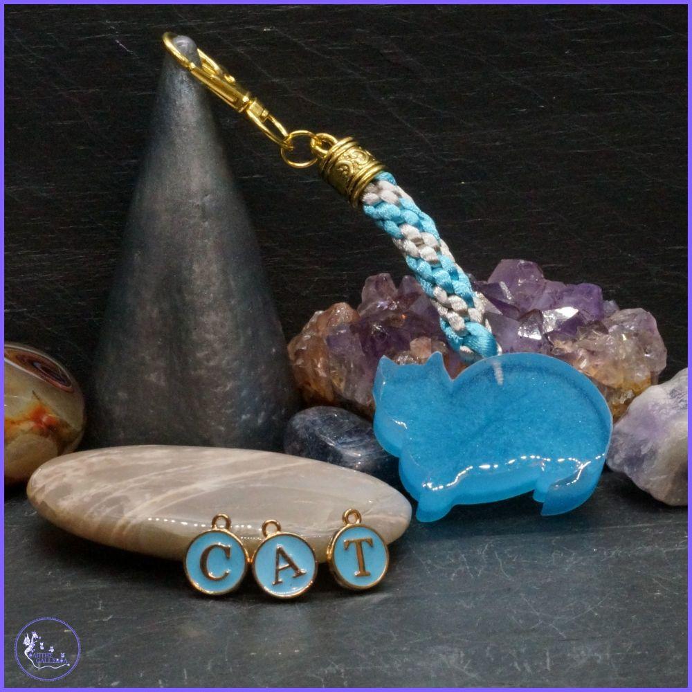 Blue Cat Resin Keyring or Bag Charm.