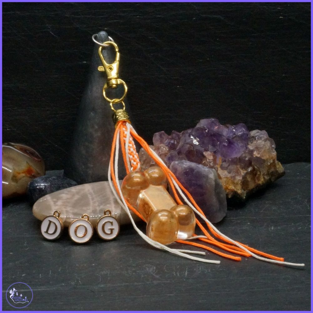 Personalised Orange Bone Keyring or Bag Charm.