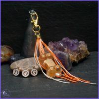 Personalised Orange Bone Keyring or Bag Charm.