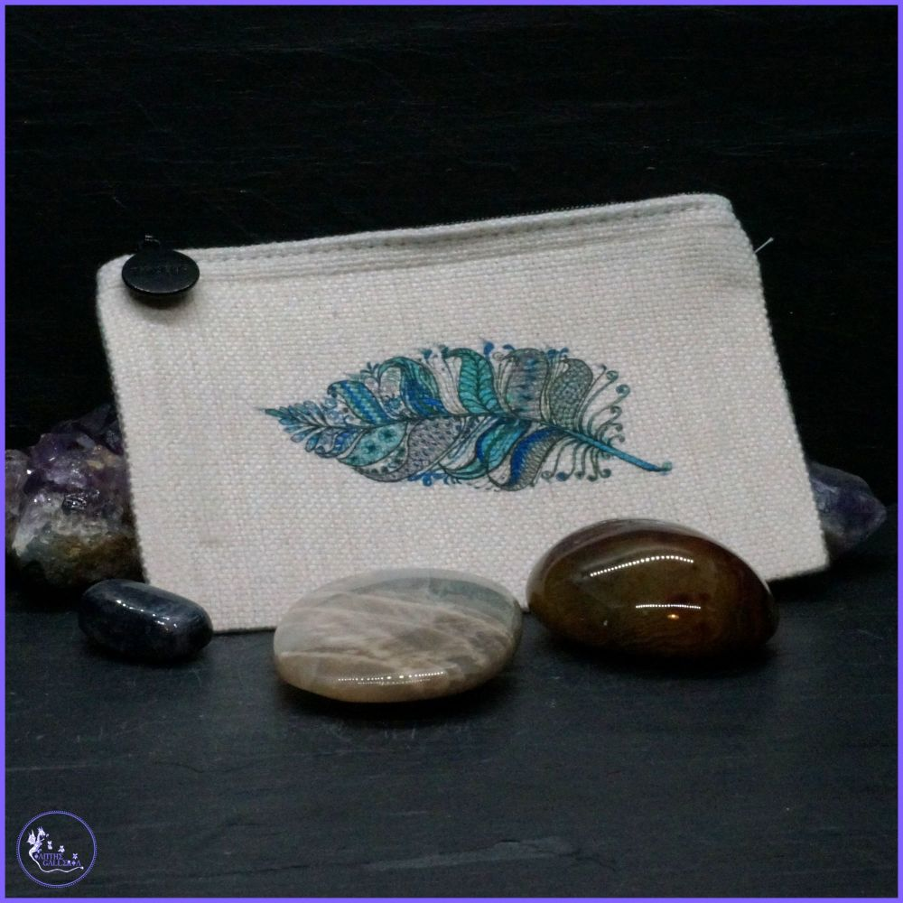 Feathers in Blue Coin Purse.