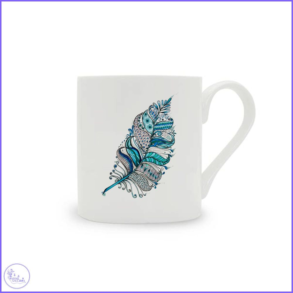 Feathers in Blue China Mug.