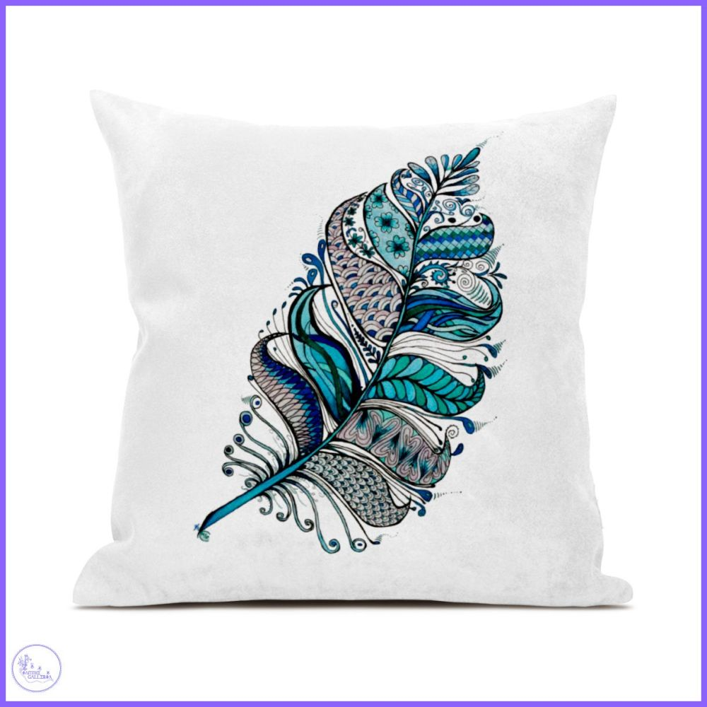 Feathers in Blue Canvas Cushion.