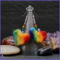 Rainbow Heart Drop Earrings.