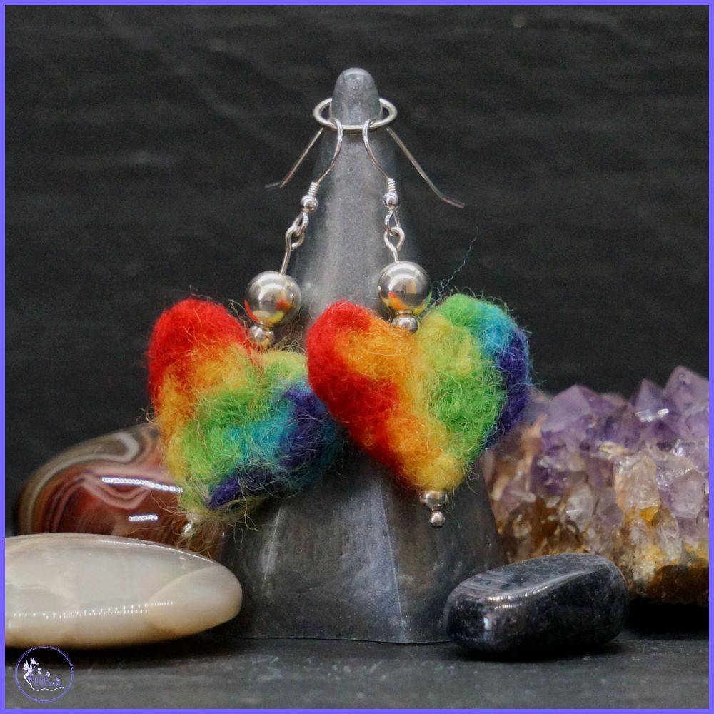 Rainbow Heart Drop Earrings with Sterling Silver Beading.