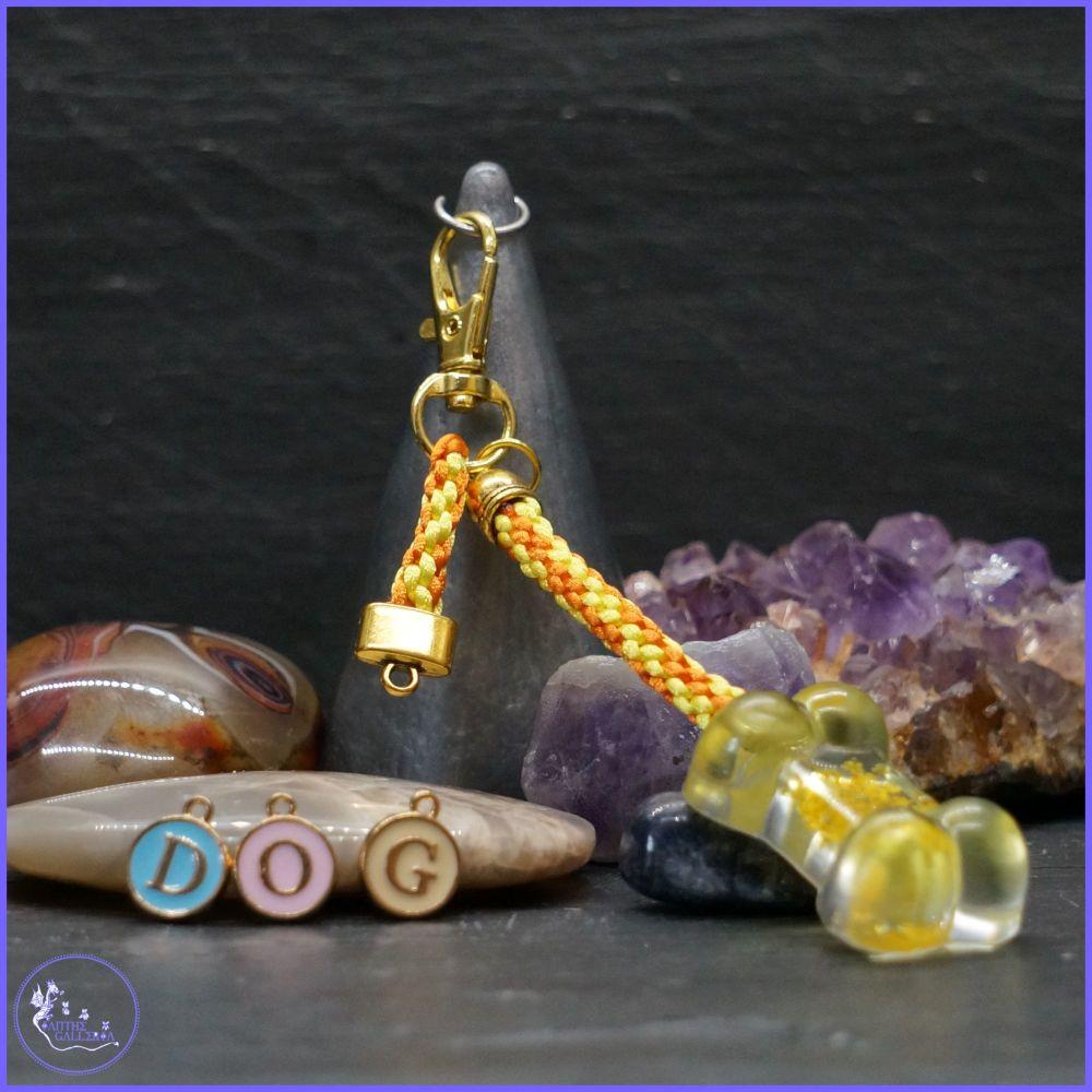 Personalised Yellow Bone Keyring or Bag Charm.