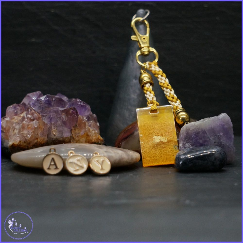 Personalised Yellow and Gold coloured Keyring or Bag Charm.