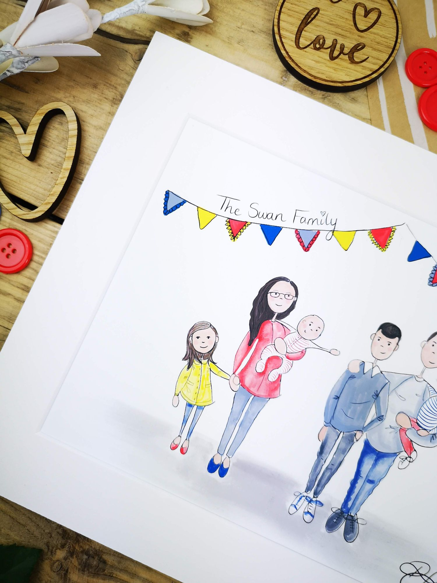 handpainted family illustrations