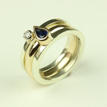 Gold Rings with Sapphire and Diamond