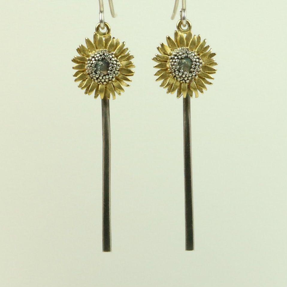 Sunflower  Drop Earrings with Stem