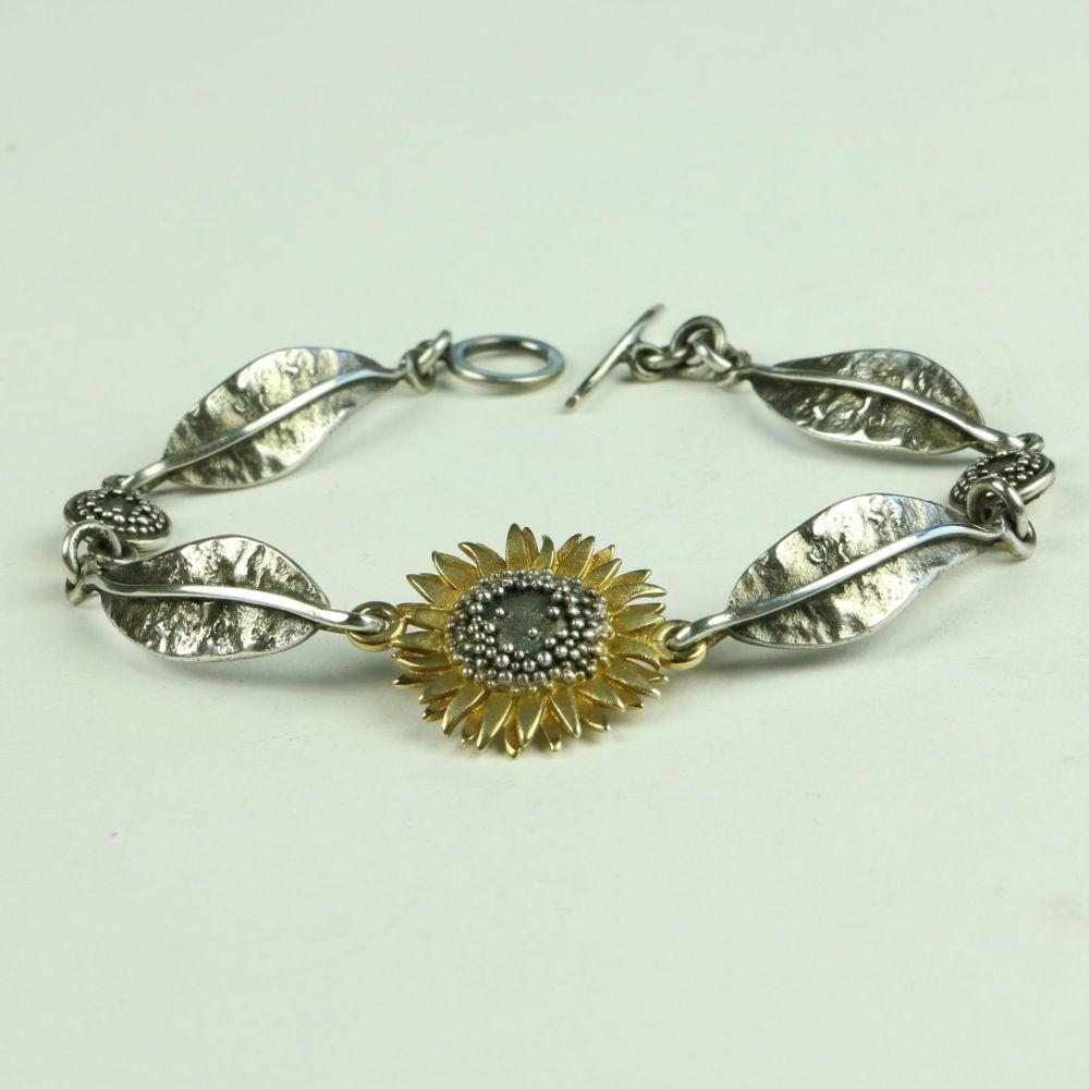 Sunflower Bracelet with Leaves