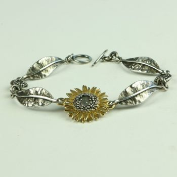 Sunflower Bracelet with Leaves