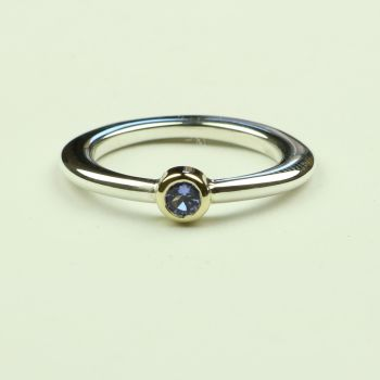 Halo Silver and Gold Ring with Tanzanite