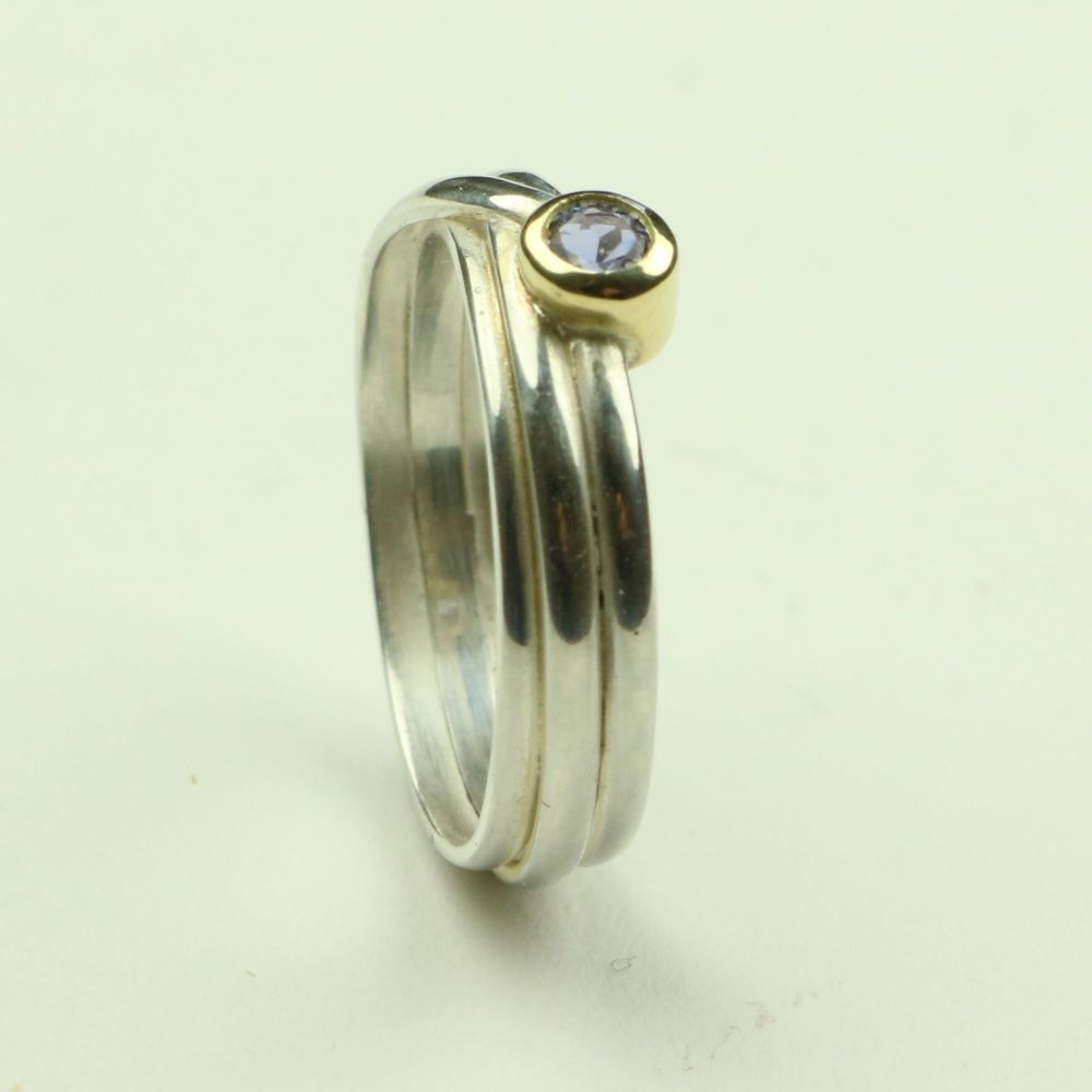 Wrap Ring in Silver and Gold with Tanzanite