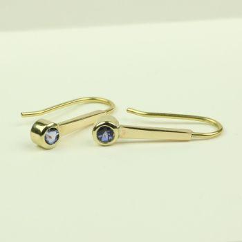 Gold Drop Earrings with Tanzanite