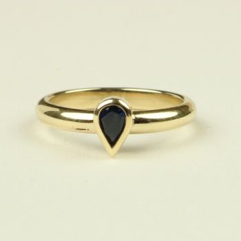 Gold Ring with Blue Pear Sapphire