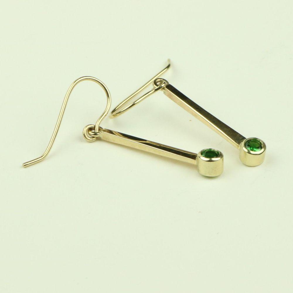 Gold Drop Earrings with Tsavorite