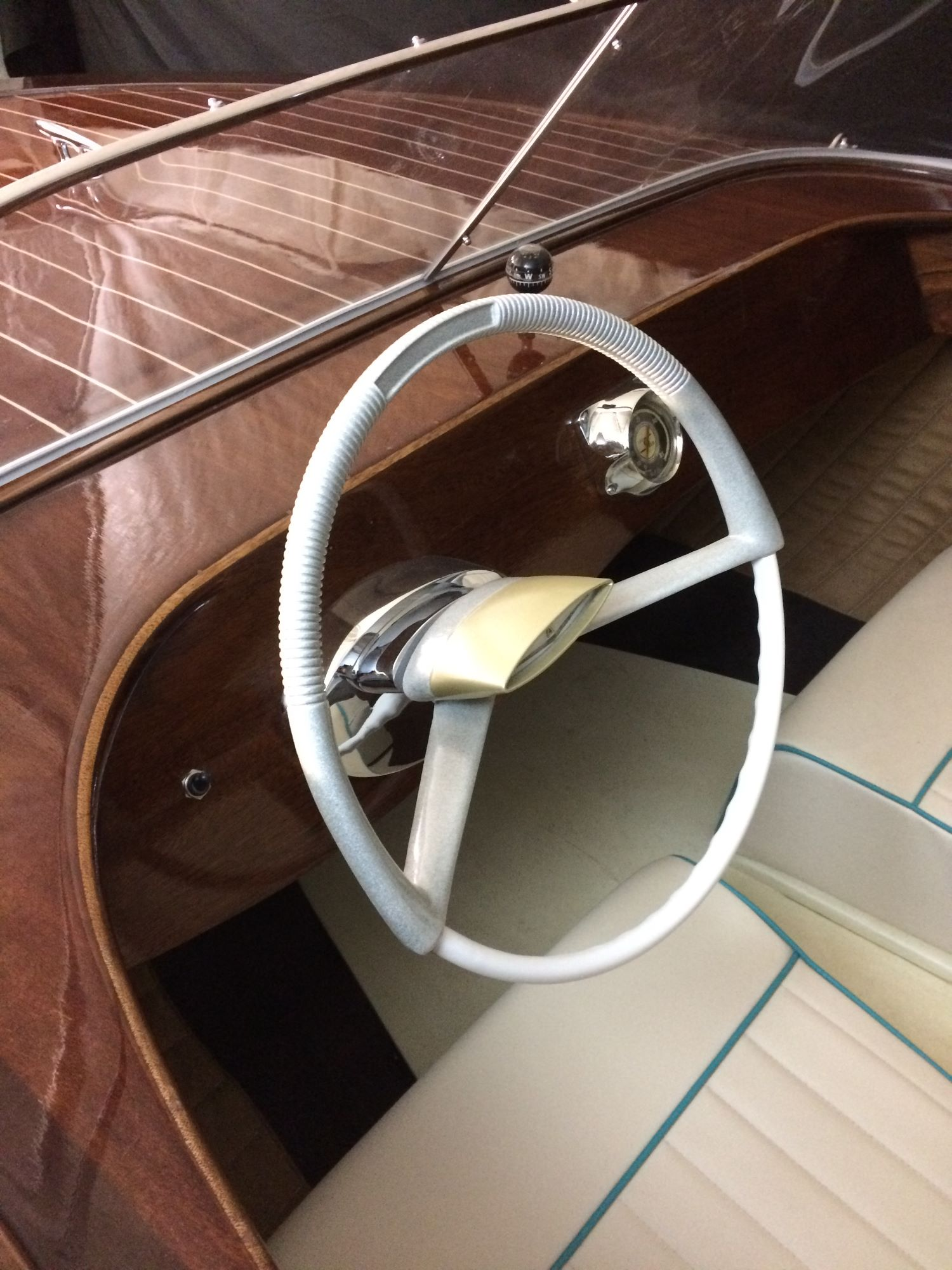 broom viking boat windscreen and steering wheel restored by fine wooden boats