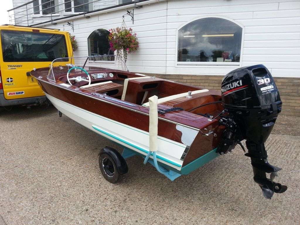 classic broom boat with a new engine fitted