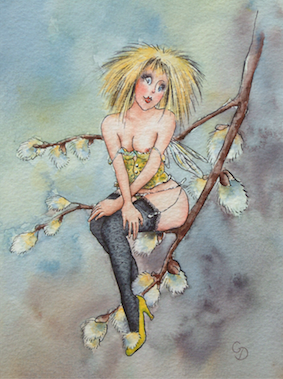 'Pussy Willow' Art Card