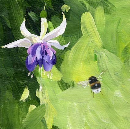 'Bumblebee and Fuchsia' Hand-Signed Print