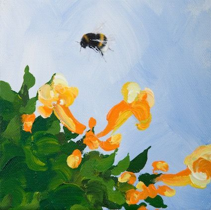 'Bumblebee and Campsis' Hand-Signed Print
