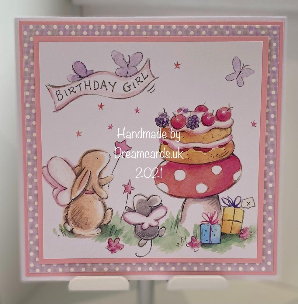 New Product Hanmdade 7 x 7  Birthday Girl card.