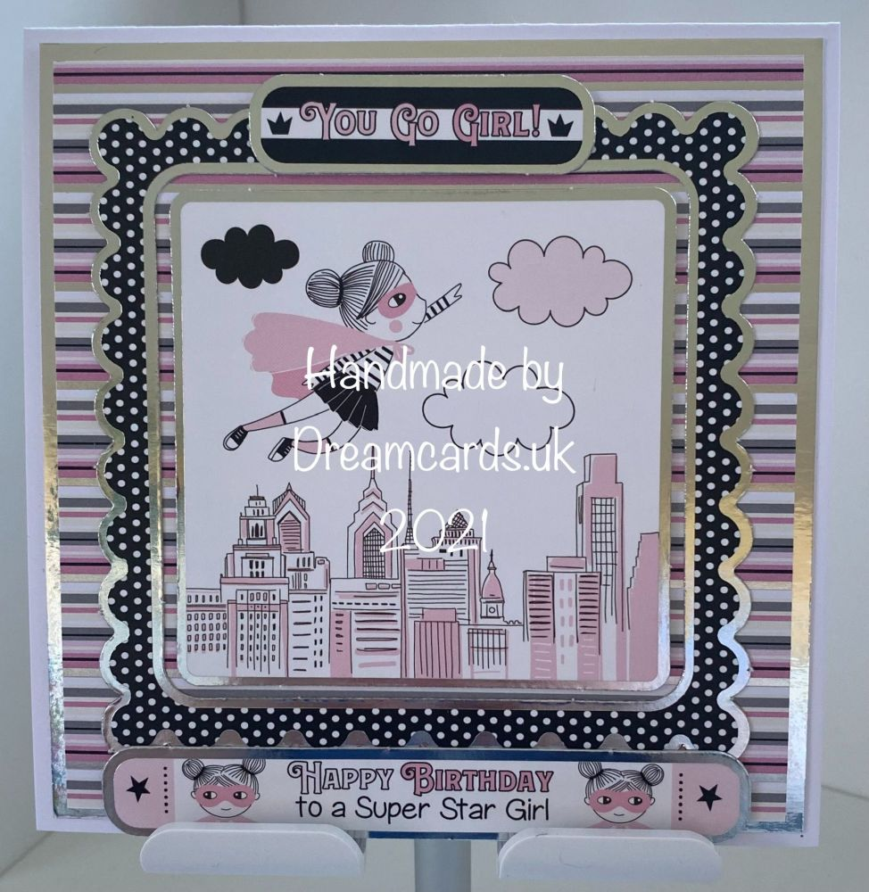 New Product 6 x 6 Handmade - Happy Birthday To A Super Star Girl