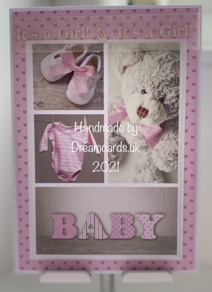 New Product A5 New Baby Girl card.