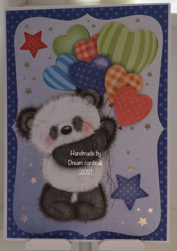 New Product A5 Sweet Panda Birthday card. Any age can be added.