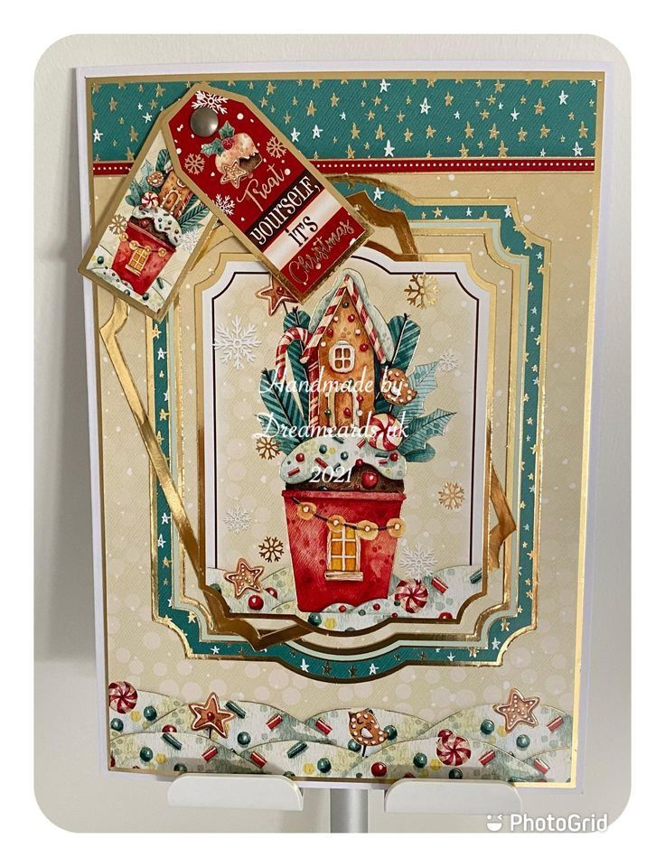 New Product - HANDMADE A5 CHRISTMAS CARD - TREAT YOURSELF IT'S CHRISTMAS