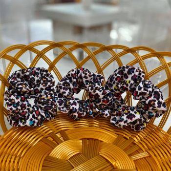 Colourful Leopard Print Fabric Hair Scrunchie