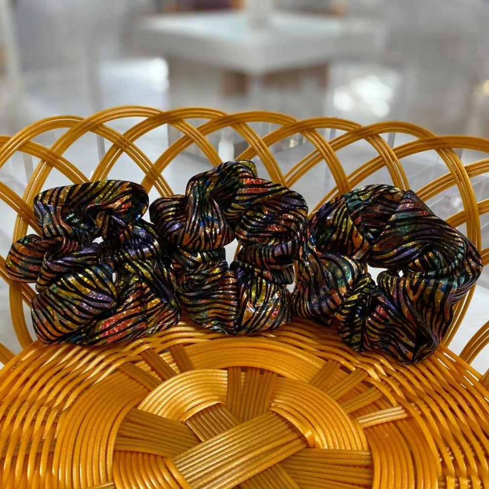 Colourful Metallic Print Hair Scrunchie