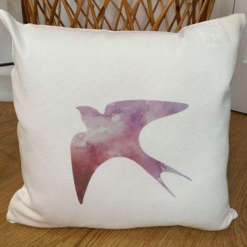 Swallow: Pink Watercolour Cushion