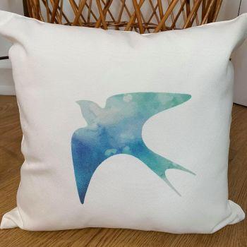Swallow: Blue Watercolour Cushion