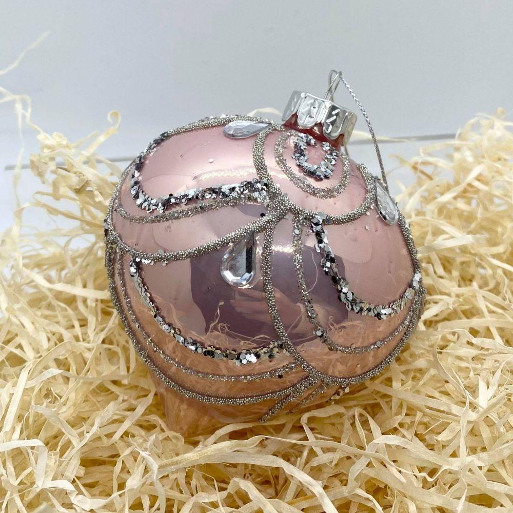 Blush Pink Glass Bauble 002