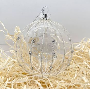Glass Bauble with Glitter Stripes