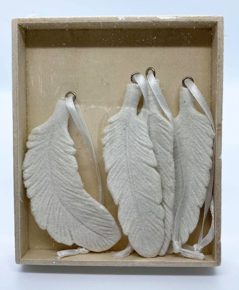 Pack of 4 White Resin Hanging Feathers