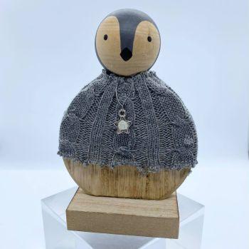 Round Wooden Penguin