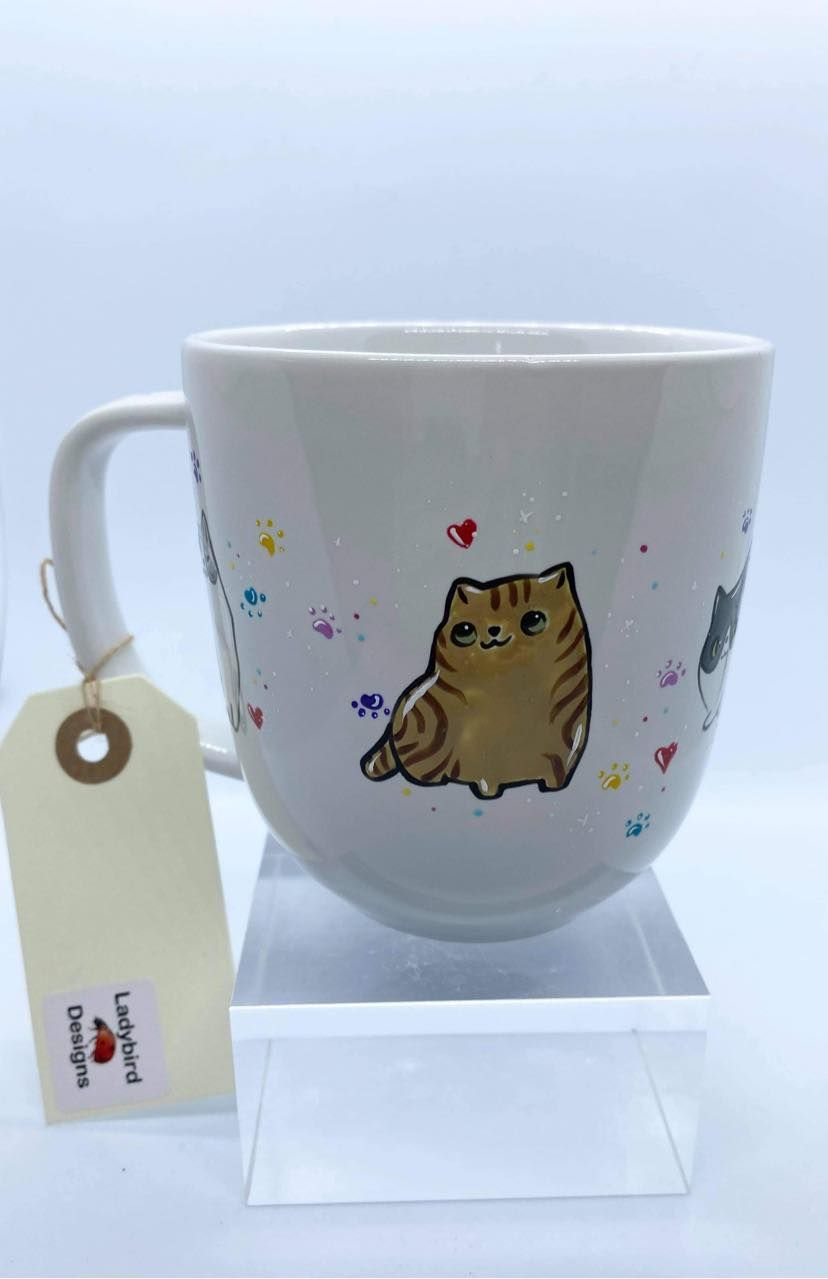 Ladybird Designs Hand Painted Cat Mug