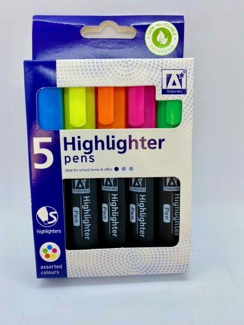 Highlighter Pens - Pack of 5