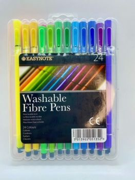 Assorted Washable Fibre Pens - 24 pack