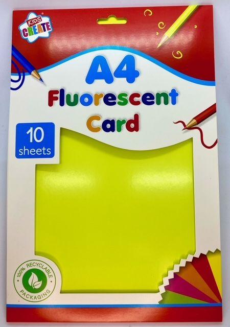 A4 Fluorescent Card - 10 Sheets