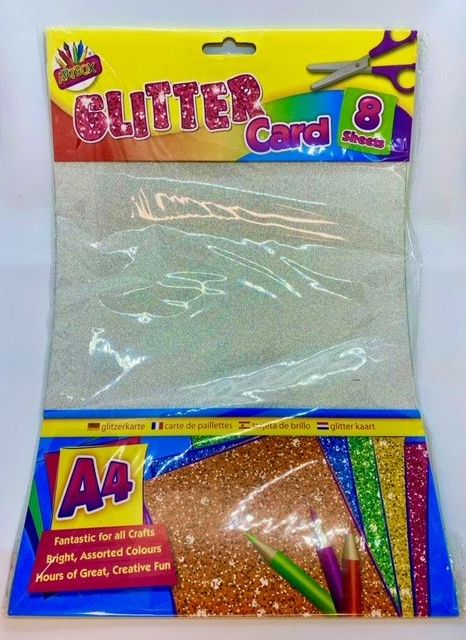A4 Glitter Card - 8 Sheets
